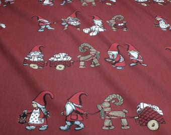 Fabric for christmas pure cotton canvas bordeaux gnome present gift
