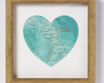 West indies Map Heart Print - framed
