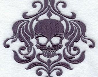 Damask Skull Centerpiece Embroidered Flour Sack Hand/Dish Towel