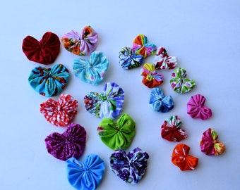 Fabric Heart Yo yos  Set of 20  Multi Colors