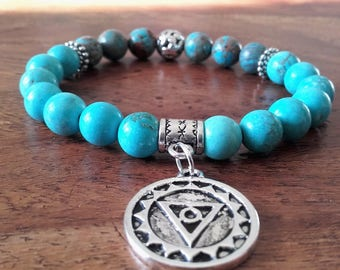 """Communication"", turquoise, Indonesian agate, beads and charm chakra bracelet throat silver-plated"