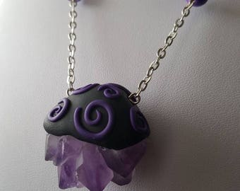 Handmade pendant from polymer clay and amethyst cluster