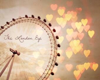"London Eye Photo, Valentine's Day, Wedding, Travel Photography Print, Romantic Art - ""In Love With London"""