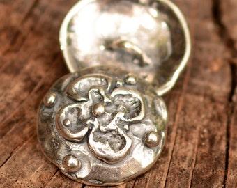 Artisan Sterling Silver Flower Button, Dogwood Buttons