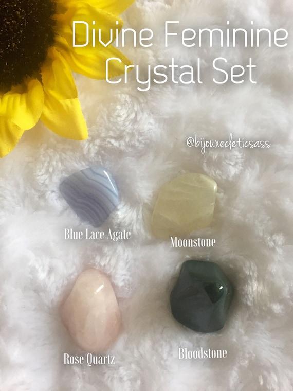 Divine Feminine ~ Rose Quartz, Blue Lace Agate, Bloodstone, & Moonstone