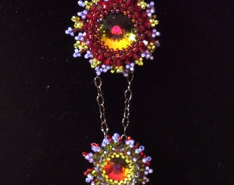 colorful faceted fireburst crystal tiered necklace