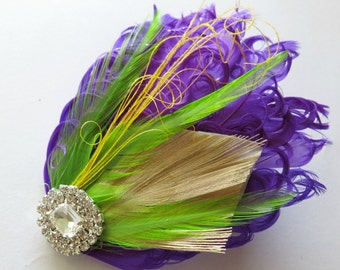 Bridesmaids Hairpiece, Feather Fascinator, Purple,Lime Green, Yellow,Wedding Hairpiece, Gatsby Hairclip, 1920s Hairpiece