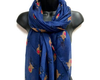 Red Nose Reindeer Blue Scarf,Spring Summer Scarf,Christmas Gifts,Gifts For Her,Gifts For Mother,Scarves And Wraps,Printed Scarf