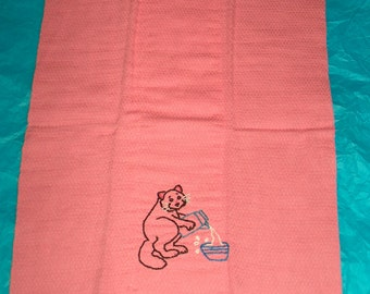 Kitty and Milk Baby Burp Rag, Pink, Baby and Child Care, Burping, Handmade Burp Rag, Burp Cloth, Baby Burp Cloth, Burp Rags