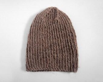perfect handmade wool-blend skullcap -- the torse beanie hat in mushroom
