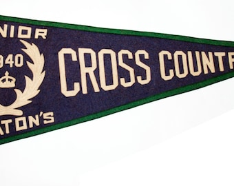 Genuine Vintage Original 1940s sewn letters Felt Pennant Upper Canada College -- Free Shipping!