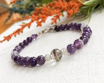 Purple Beaded Bracelet, Purple Bracelet, Purple Bead Bracelet, Gift For Her, Bridesmaid Gift, Purple Gifts | Jewelry for a Cause