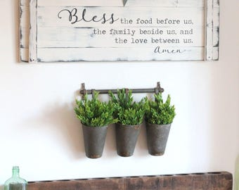 """BLESS THE FOOD before us, 36""""x12"""", rustic dining room sign, prayer sign, large kitchen sign, farmhouse prayer sign"""