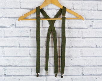 Tweed Braces/Suspenders - Dark Green Birdseyel Yorkshire Tweed