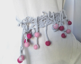 Fiber Art Jewelry Freeform Crochet Fiber Necklace Crochet neckpiece Crochet Collar Felted Beads Elegant Necklace