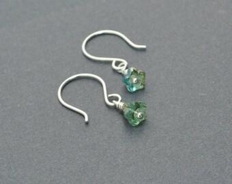 Small Dangle Earrings, Flower earrings, Czech Glass Earrings, Green Earrings