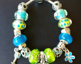 Love Teal And Lime Green European Charm Bracelet