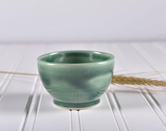 Small pottery bowl/ ceramic bowl/ tiny bowl/ green glossy bowl/ food prep bowl/ handmade ceramic bowl/ salt bowl/
