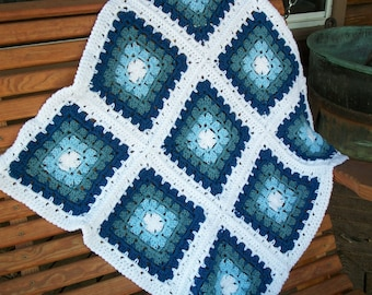"Baby Boy Blanket/Afghan  Hand Crocheted  3 Shades Of Blue Yarns  White Yarn  30"" Square  9 Granny Squares  READY TO SHIP"