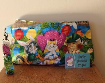 Wristlet// Clutch// Fabric Handbag// Caroline Wristlet// Handbag// Purse// Handcrafted// Cat// Alice in Wonderland// Mad Hatter// Alice