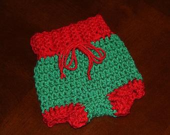 Newborn Christmas Diaper Cover, Crochet Newborn Diaper Cover, Baby PHOTO PROP