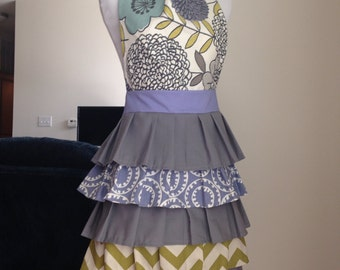 Ruffle Apron in Gray, Purple, and Teal Floral