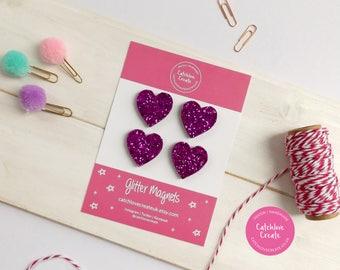 Pink glitter heart magnet set. Heart magnet set. 4 heart magnets. Fridge magnet set. Fridge magnets. Magnet set.