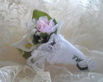 Bride Brooch Keepsake Nosegay Clip For Clutch Bridal Sash Bouquet Whimsical Pin Cushion Petite Tussie Mussie Designed by HandcraftUSA Etsy
