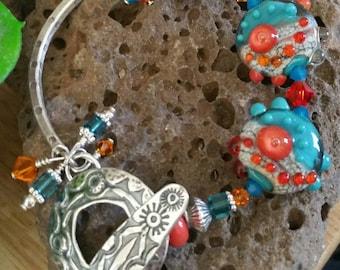 Southwest Sterling Silver Lampwork Bracelet
