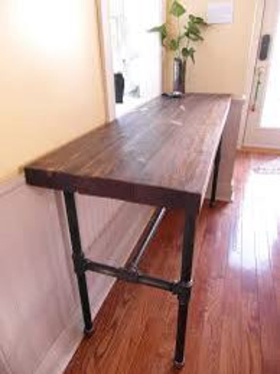 Industrial Sofa Or Entry Console Table With Pipe Legs