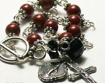 Valentine Red Pearl Rosary Bracelet, Swarovski, Unbreakable, Miraculous Medal