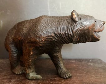 Vintage Black Forest Hand Carved Wooden German Brown Bear Sculpture with Glass Eyes  1900's Collectible