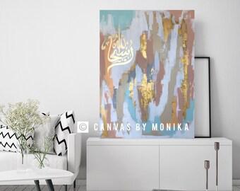 Islamic Art,Colorful Islamic Painting,Modern Islamic Art,Arabic Calligraphy, Large Islamic Wall Decor Abstract Islamic Painting Extra Large