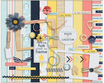 Digital Scrapbooking Mini Kit for summer, staycation, everyday adventure - Staycation - INSTANT DOWNLOAD