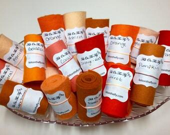 Wool Felt Rolls, Set of Three, Orange Felt, Fabric Remnants, DIY Crowns, Felt Flowers, Felt Ribbon, 18 Inch Roll, Applique, Wool Scraps
