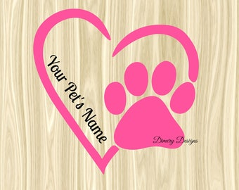 Paw print heart decal with pet's name, pet car decal, puppy decal, I love my dog decal,