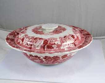 Covered Serving Bowl Red Transferware Enoch Woods English Scenery Wood & Son  England - 1917 to 1920s Mark