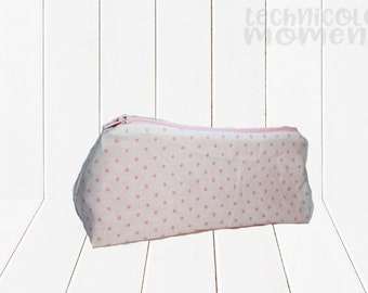 White Pouch with Textured Pink Dots