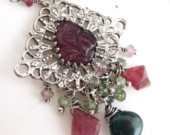 Floral Pink Tourmaline and Sterling Silver Necklace