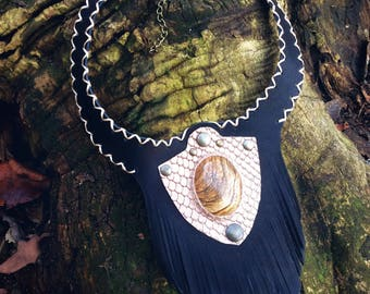 Black fringed leather neckalce with picture jasper