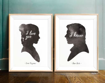 Star Wars Art Print, I LOVE YOU / I KNOW - Star Wars Printable, Valentines Day, Princess Leia, Han Solo, Silhouette, Luke Skywalker, Jedi