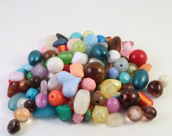 Acrylic Bead Mix, Multicolored Mixed Shapes, Wholesale Loose Beads, Kids Crafts
