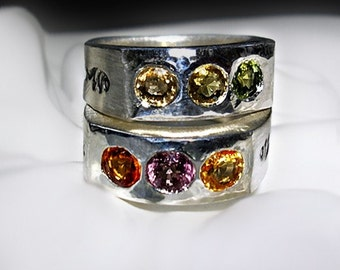 Three Stone Colored Sapphire Ring in Recycled Sterling Silver