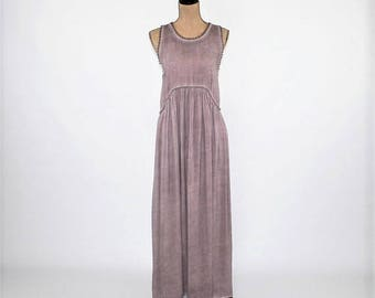 Sleeveless Maxi Dress Boho Hippie Clothes Summer Dress Long Purple Lavender Rayon Grunge Bohemian Dress Festival Clothing Womens Clothing