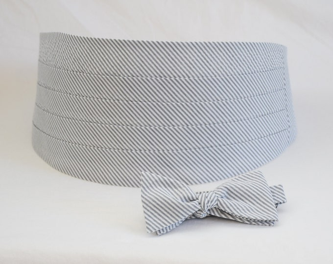 Cummerbund & Bow Tie, grey seersucker, wedding party menswear, tuxedo accessory, groom formal wear, southern stylish wedding, custom made