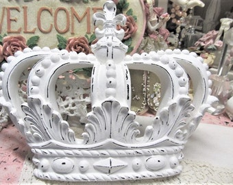 "Shabby Chic White CROWN Wall DECOR, Hand Painted, Polyresin, Distressed, 8-3/4"" Tall~11-3/8"" Wide, Cottage Chic, French Chic, Crown Decor"