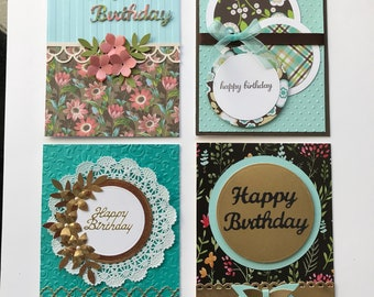 Card Kit  Set of 4 DIY Happy Birthday Cards