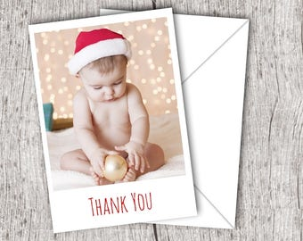 Printed Christmas THANK YOU Cards inc. envelopes - Flat Style - Baby/Child/Boy/Girl Personalised