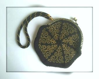 Bead Coin Purse Bag Crochet wallet Crochet festive bag Knitted wallet Beaded purse Knitted clutch Beaded evening bag Evening clutch