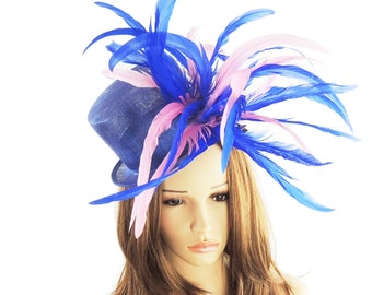 Gorgeous Royal Blue & Pink Raguel Hat for Kentucky Derby, Weddings (40 colours available)